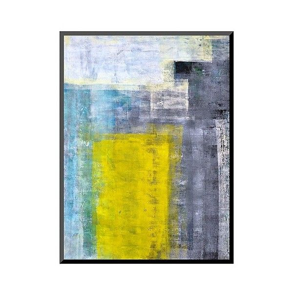 Art.com Decorative Wall Panel Grey-Teal And Yellow Abstract Art ...