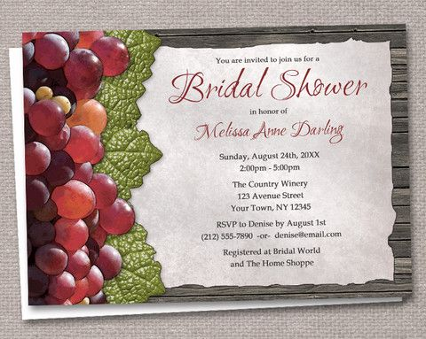 Rustic Winery Grapes and Wood Bridal Shower Invitations