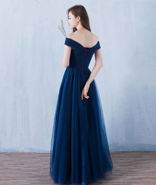 Simple A-line dark blue tulle long prom for teens 62bac649e