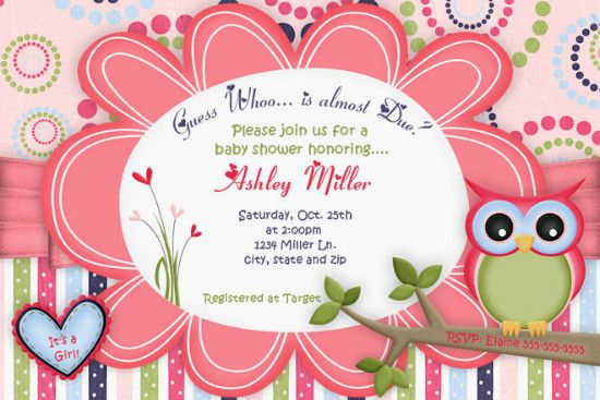 Owl Baby Girl Shower Invitation Invitaciones Pinterest Shower