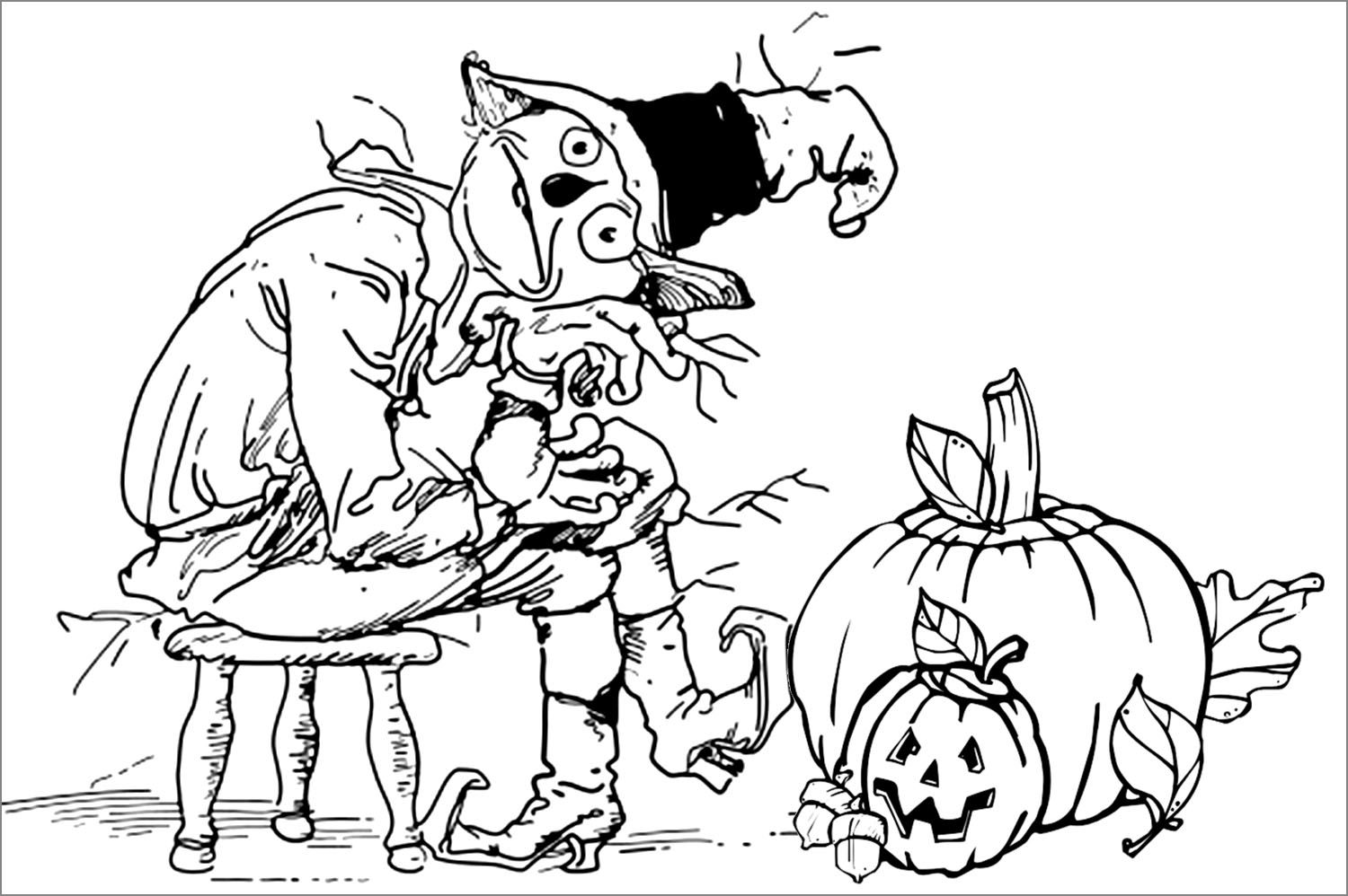 Sitting Scarecrow And Pumpkin Coloring Sheet Id 41985 Uncategorized Halloween Coloring Scary Halloween Coloring Pages Halloween Coloring Pages
