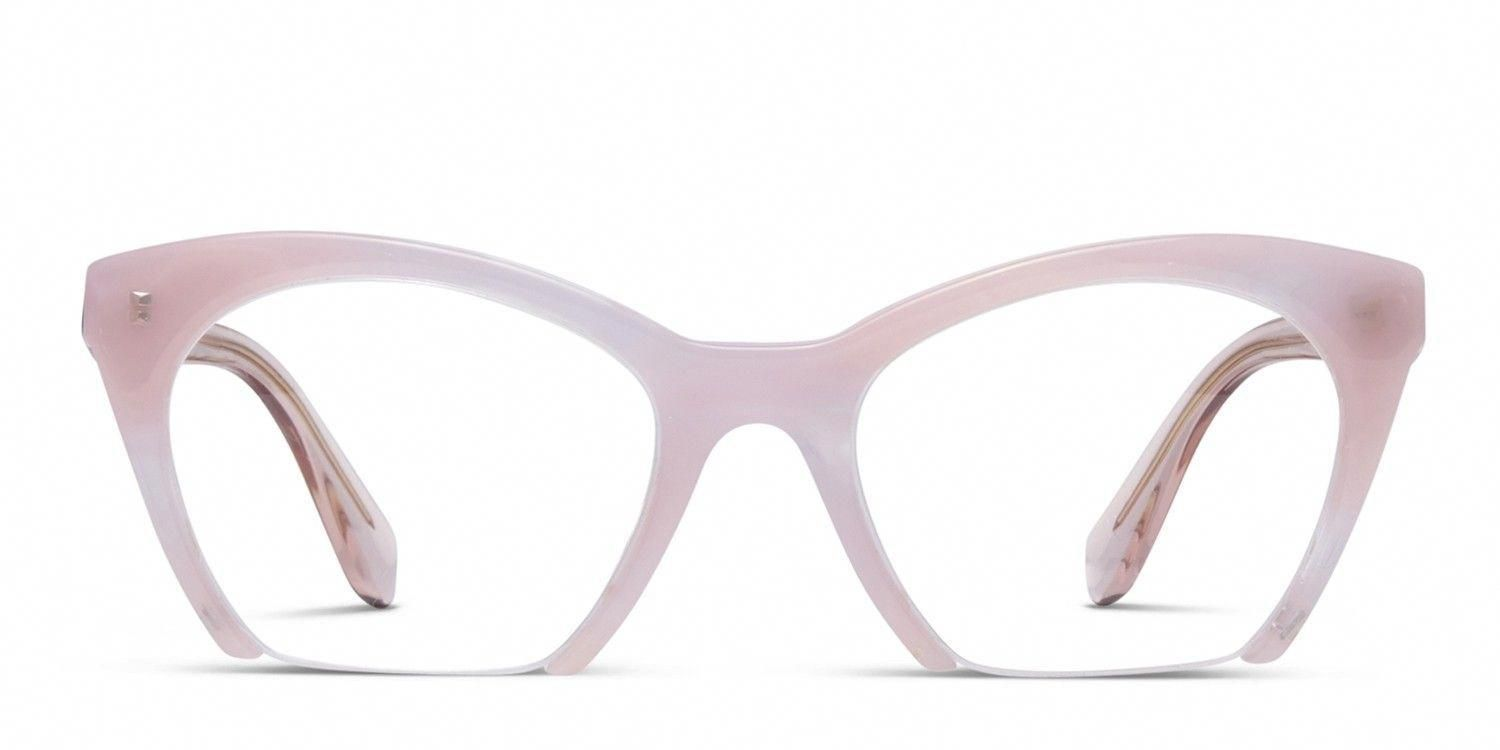 601282a0961 The Miu Miu MU 03QV is a cat-eye frame that doesn t play by the rules.  Acetate front with fine-wire lower rim and translucent wire-core arms