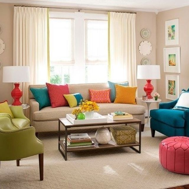 Bright Orange Living Room Accessories: Blue, Green, Yellow, Orange, And Red Are All Next To Each