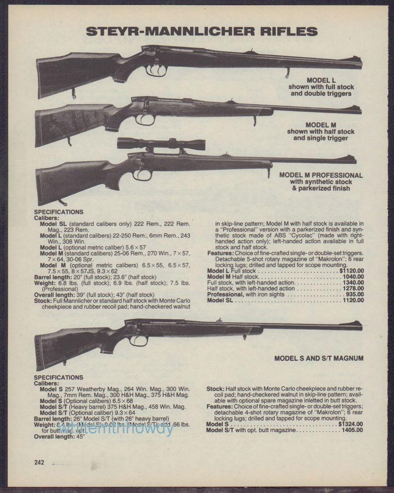 1988 STEYR-MANNLICHER Model L, M, M Professional, S & S/T