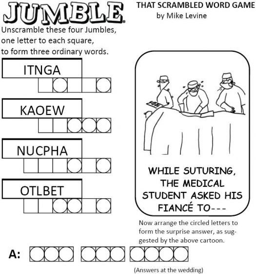 jumble is a word puzzle with a clue, a drawing illustrating the clue