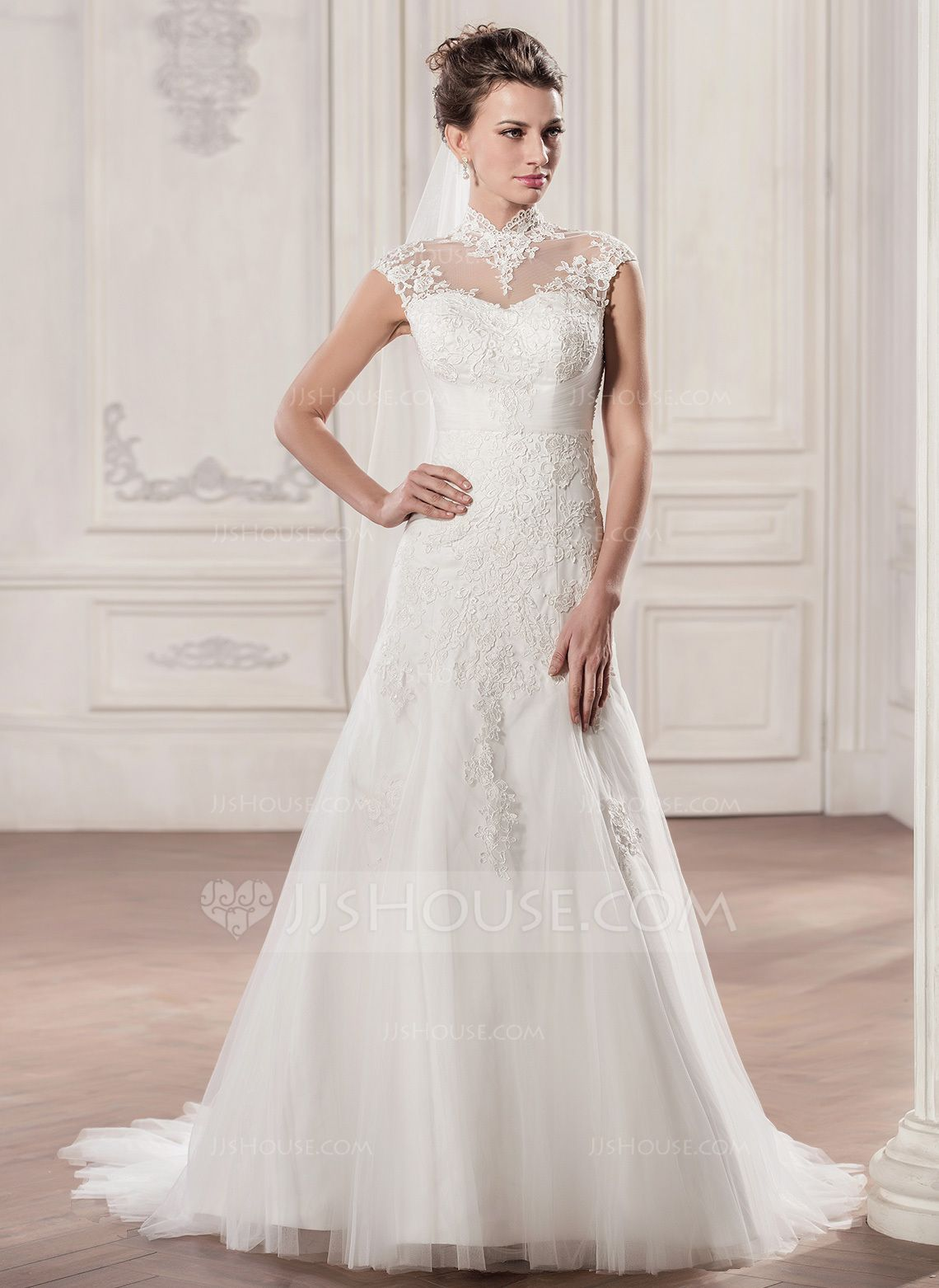 Alineprincess high neck court train tulle lace wedding dress with