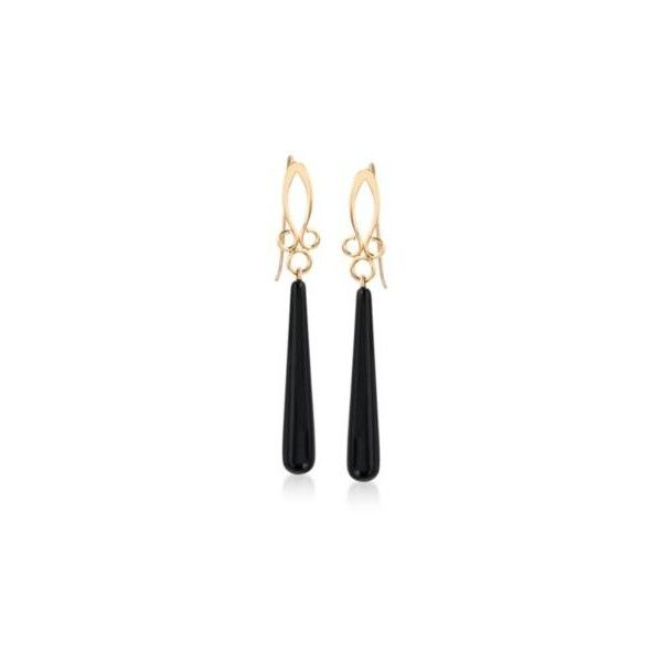 Ross-Simons Long Black Onyx Drop Earrings in 14kt Yellow Gold. 2 1/4... ($188) ❤ liked on Polyvore featuring jewelry, earrings, yellow gold, gold fleur de lis earrings, gold dangle earrings, long gold earrings, long drop earrings and gold drop earrings