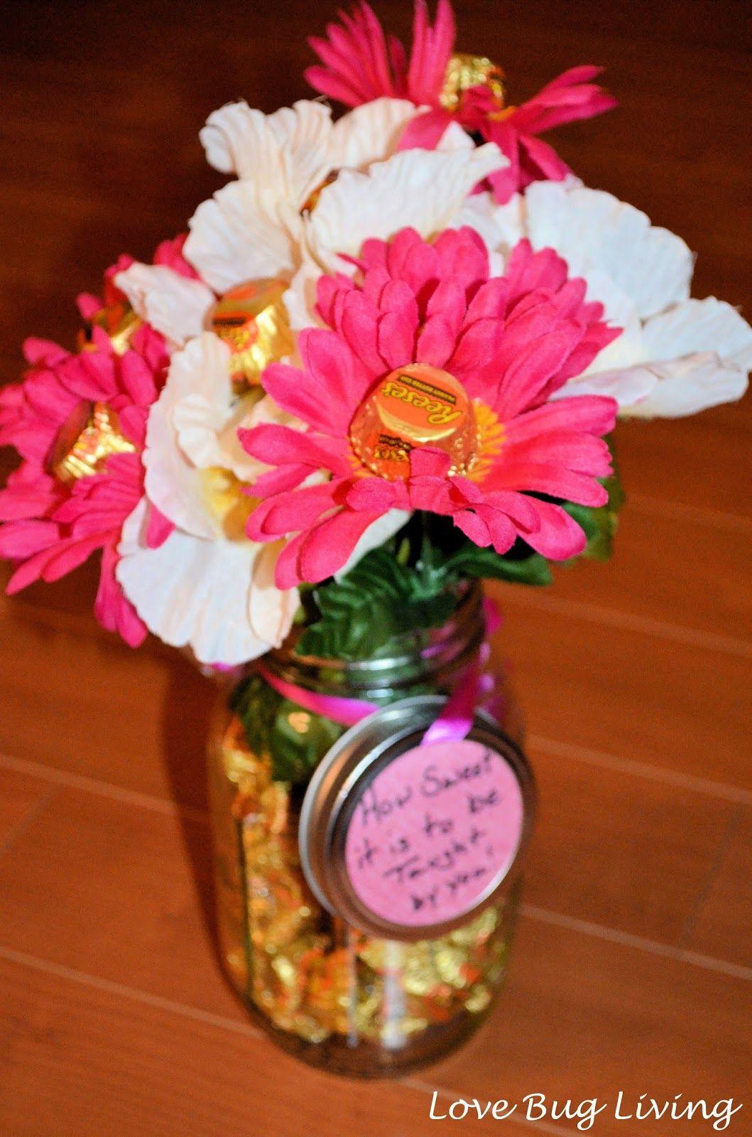 Love Bug Living Candy Flower Bouquet Mason Jar Gift For Teacher