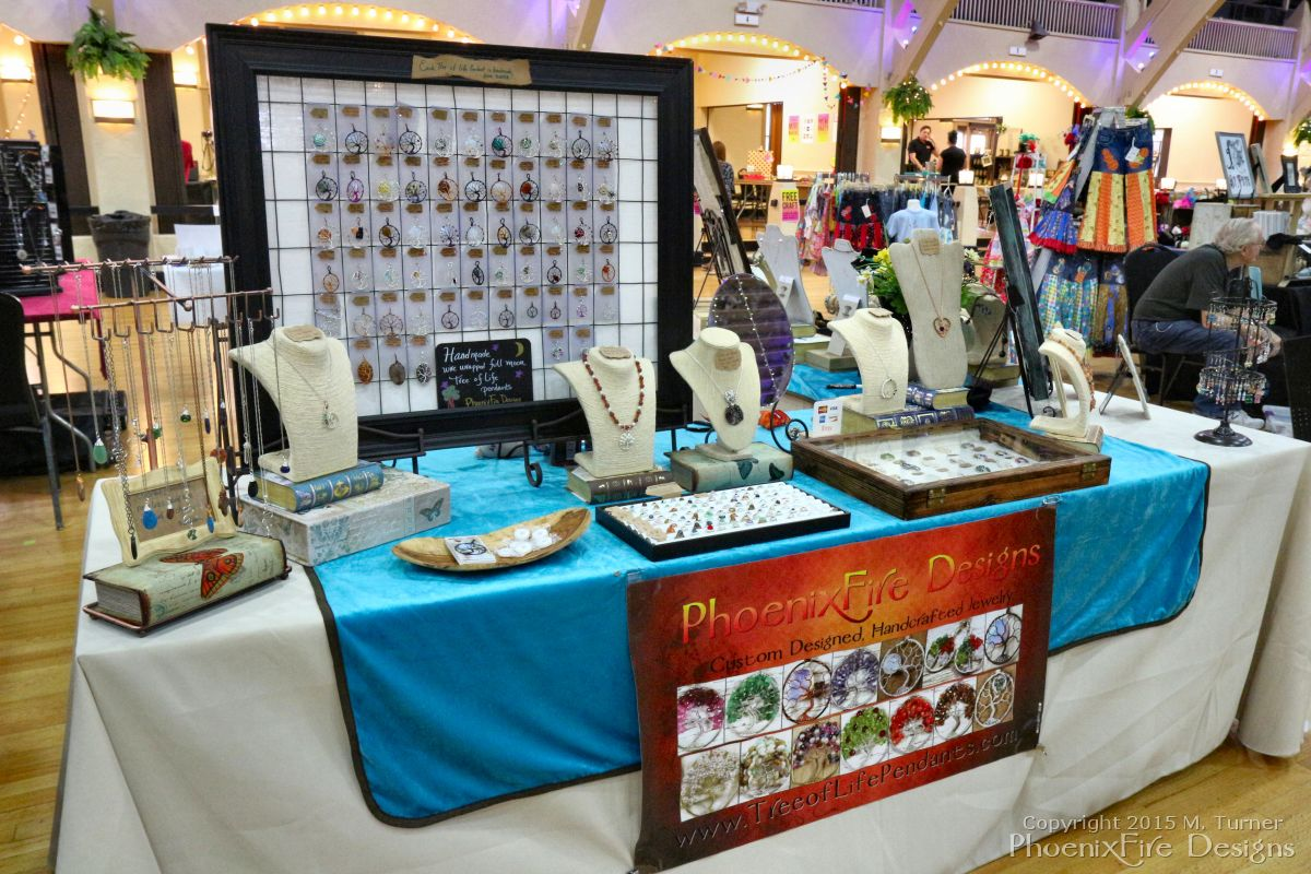 PhoenixFire Designs display table at the Etsy Craft Party The ...