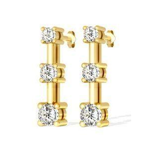 Diamantohrringe Trilogie mit 1.00 Karat Diamanten aus 585er Gelbgold für nur 1299,00 Euro bei www.diamantring.be
