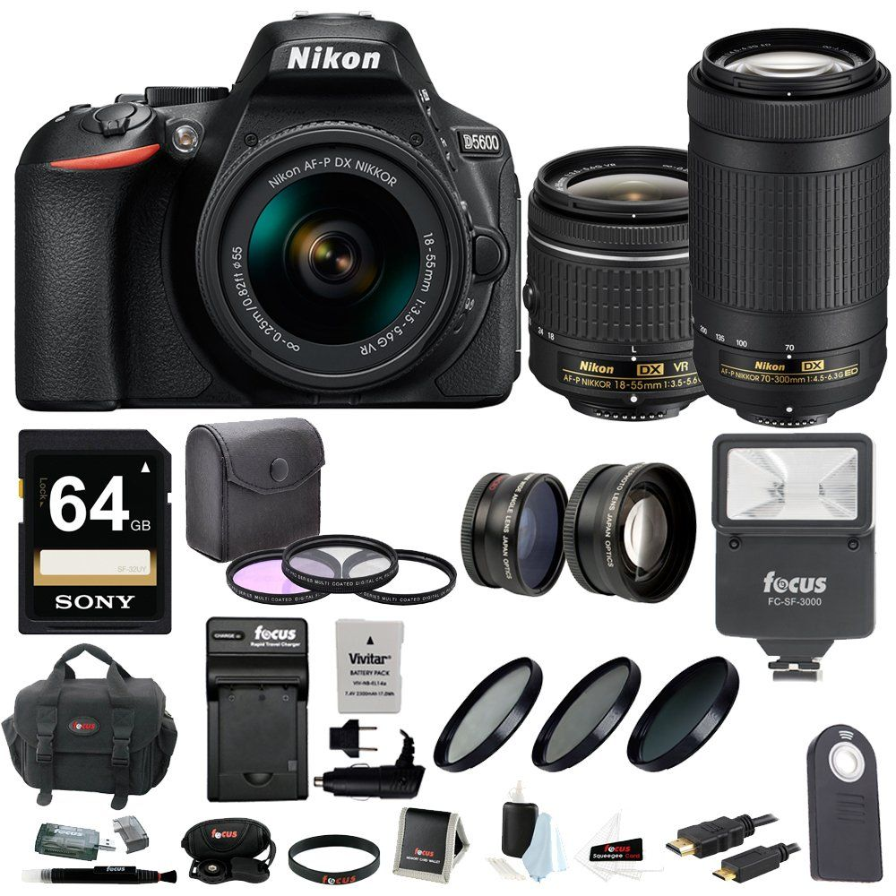 Nikon D5600 DSLR Camera with 18-55 and 70-300mm Lenses + 64GB Card ...