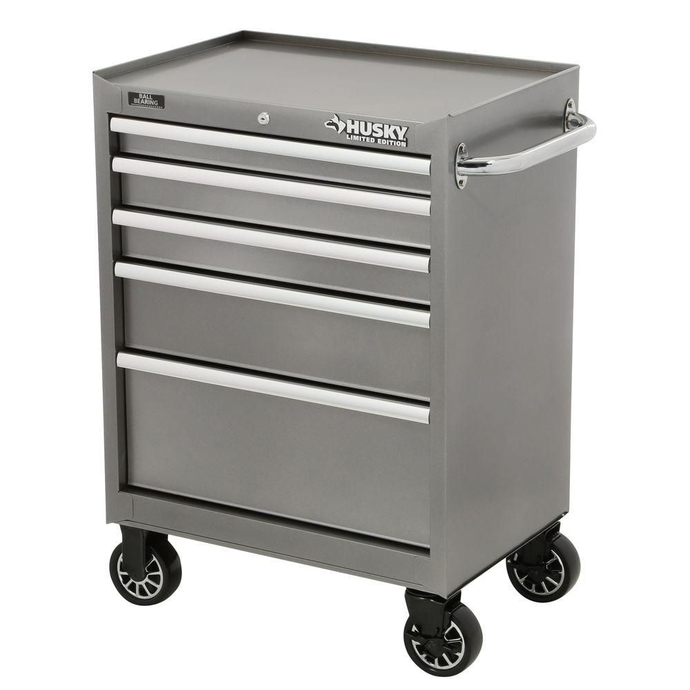 Husky 27 in. W 5-Drawer Tool Cabinet, Metallic Silver-H5TR2LEG ...