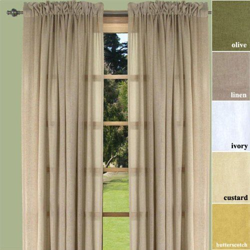 72 Long Butterscotch Lucerne Semi Sheer Dual Rod Pocket Curtain