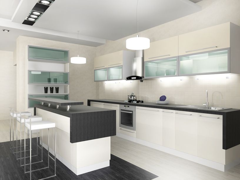 Beau Custom Black And White Kitchen With White Cabinets And Black Counter Tops.  Floor Is Black And White Also.