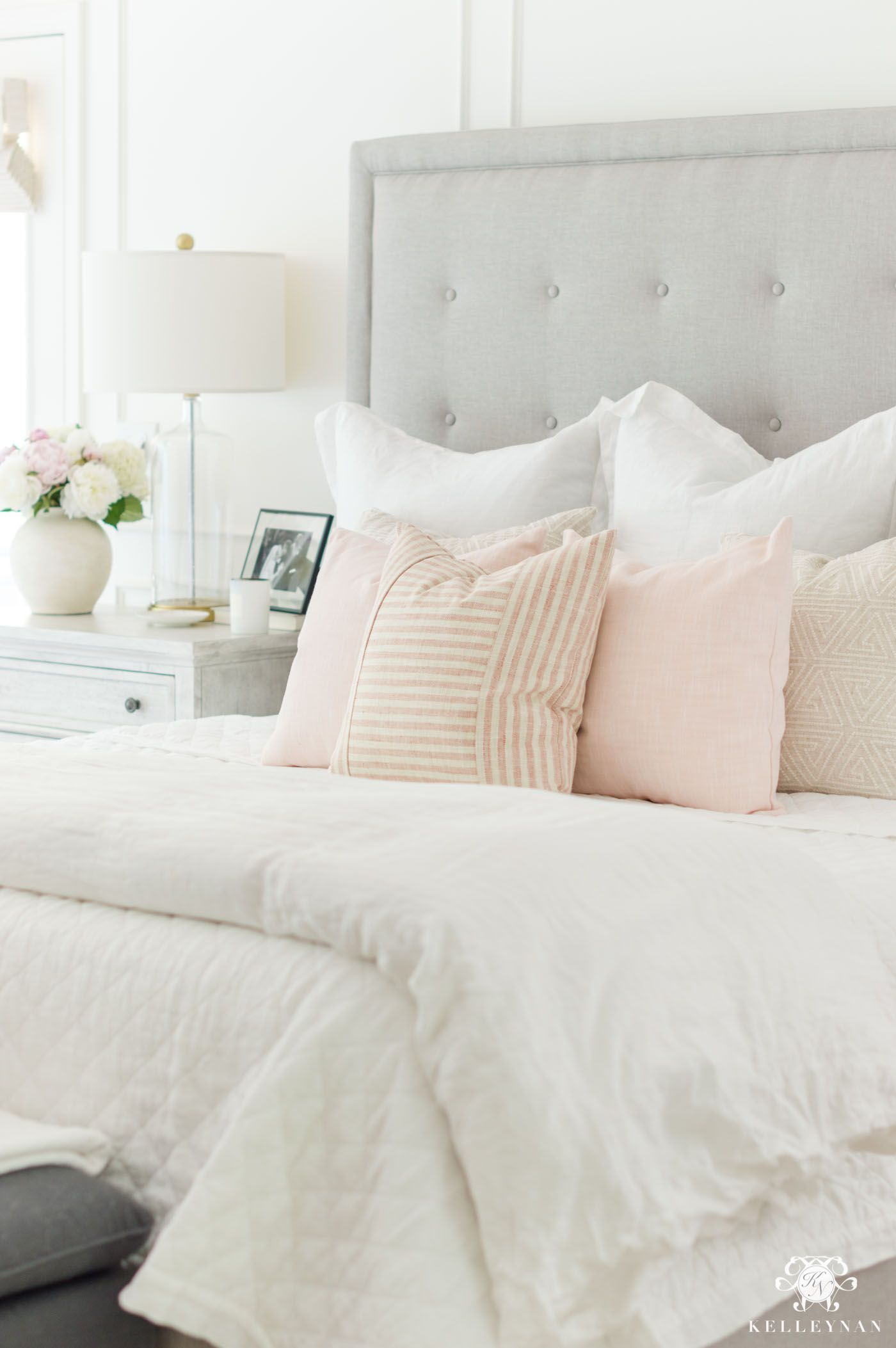 Six Blush Pink Bedroom Tips That Aren T Too Girly Kelley Nan In 2020 Pink And Grey Room White Bedroom Set Blush Pink Bedroom