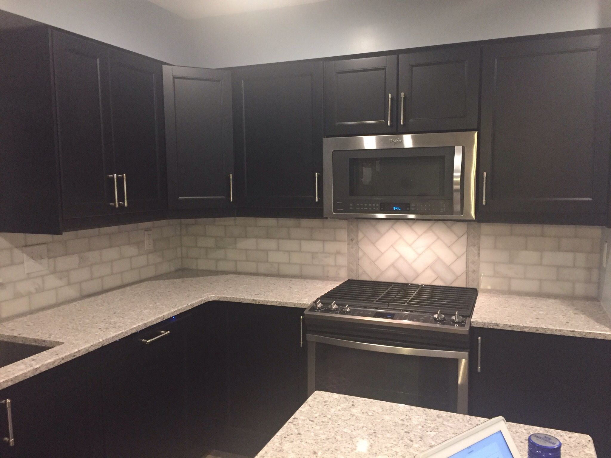 3 X 6 Marble subway tile backsplash, Ikea laxarby cabinets, quartz ...