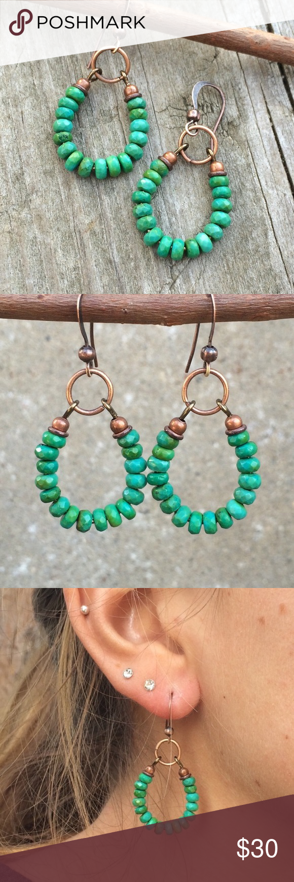 Beautiful handmade faux turquoise hoop earrings Purchased from an Etsy artisan (now sold out). Just gorgeous but I never change from my everyday earrings. I tried to capture the color in the last pic (first few are from Etsy) and I would say they are a greener turquoise shade, not aqua. So beautiful and versatile. Copper accents. Never worn. handmade Jewelry Earrings