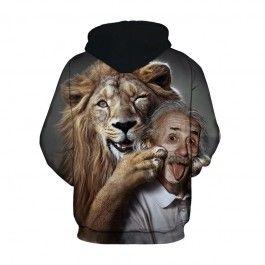 3D Hooded Sweatshirt Men Women 2018 Funny Lion Einstein Print ... 71f8cc62caf5