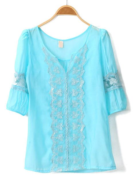 Light Blue Lace Blouse <3