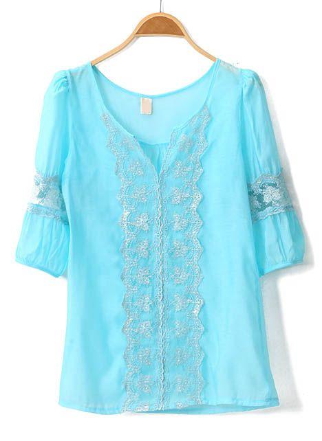 Light Blue Lace Blouse <3