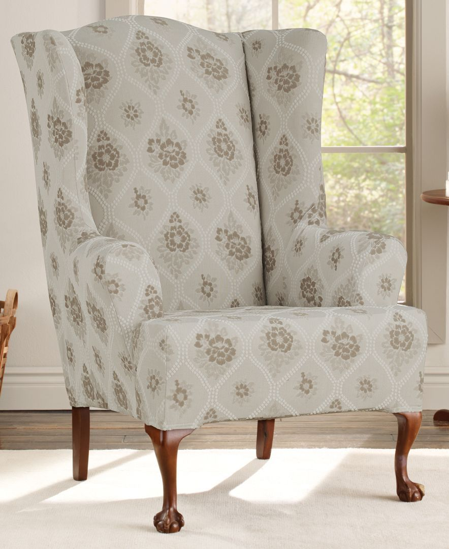 Sure Fit Stretch Vintage Floral 2 Piece Wing Chair Slipcover