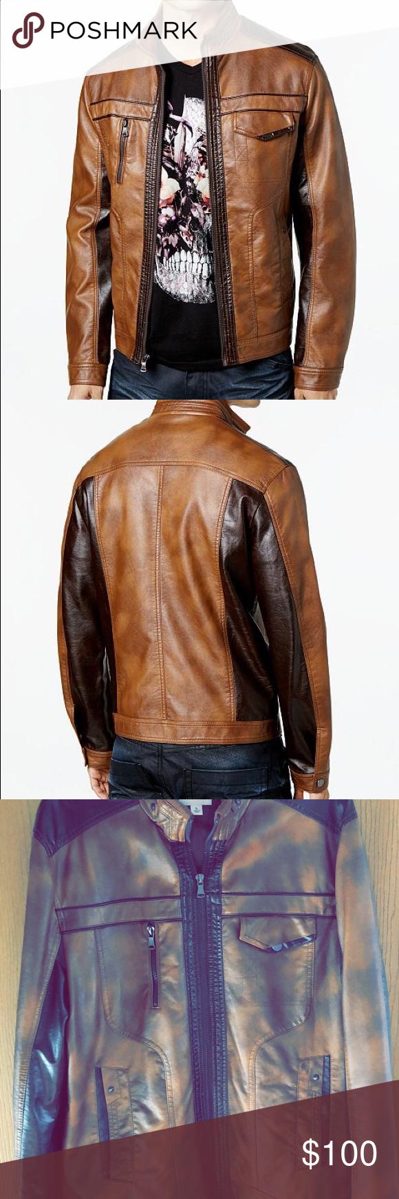 I N C Men S Jones Two Tone Faux Leather Jacket Leather Jacket Brands Leather Jacket Faux Leather Jackets [ 1740 x 580 Pixel ]
