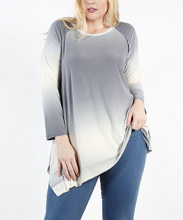 Loving this Gray & Ivory Asymmetrical Raglan Tunic - Plus on #zulily! #zulilyfinds