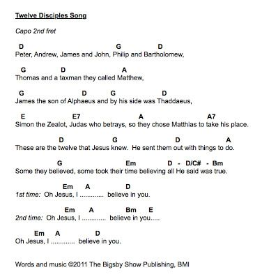 Bigsby News: 12 Disciples Song Guitar Chords | Sunday School ideas ...