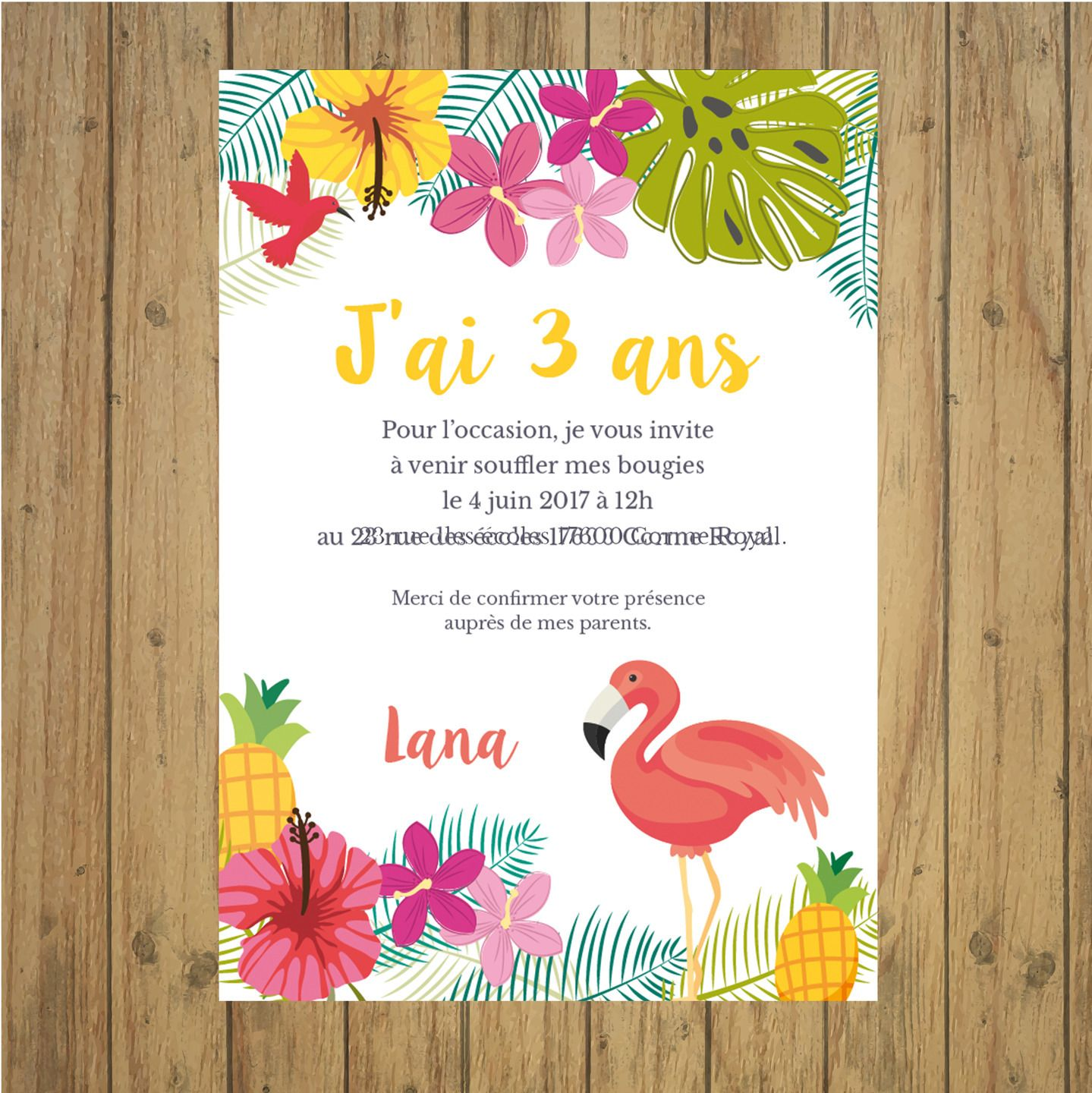 invitation anniversaire tropical carte papeterie flamant. Black Bedroom Furniture Sets. Home Design Ideas