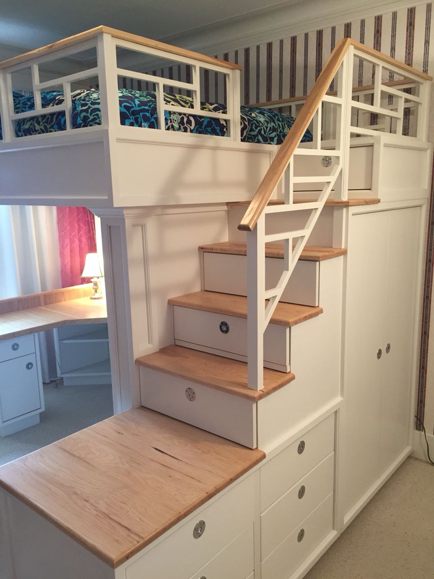 Loft bed with stairs, drawers, closet, shelves and desk