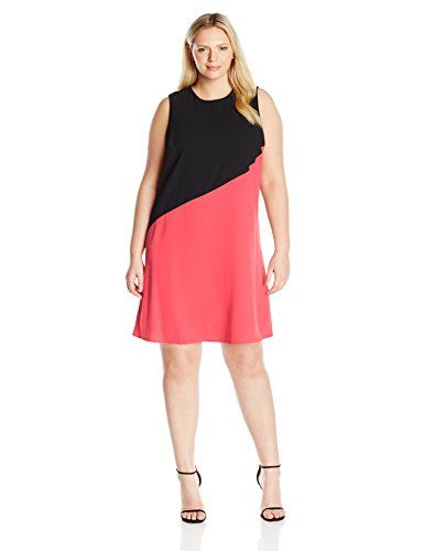 Calvin Klein Womens Plus Size Color Block Asymmetrical Hem Tent Dress BlackWatermelon 24W ** Click on the image for additional details.(This is an Amazon affiliate link)