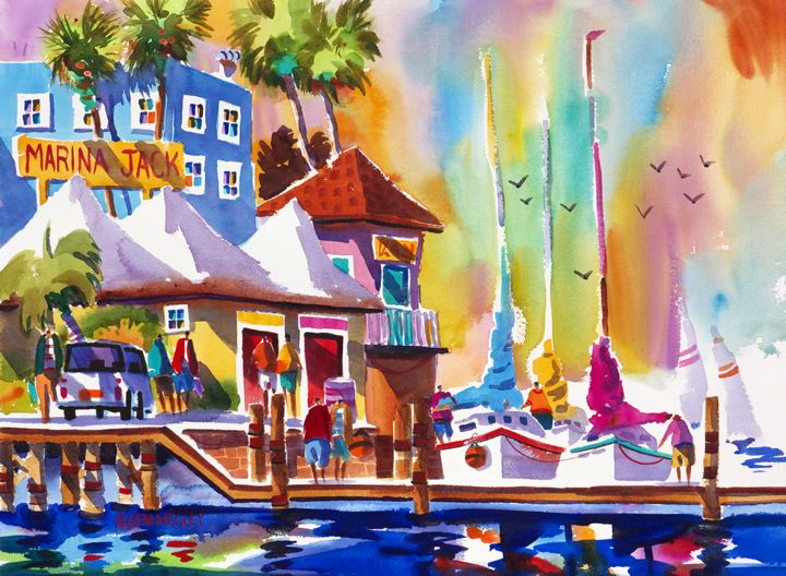 Marina Jack Tropical Sarasota Watercolor Painting Sailboat