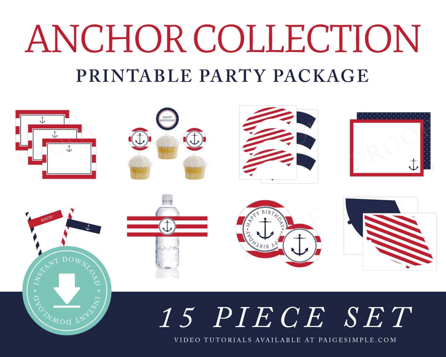 Instant Download Nautical Printable Party Package Preppy