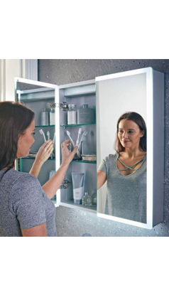 Harbour Glow Led Mirrored Cabinet With Demister Pad Shaver Socket 800 X 700mm Shaver Sockets Led