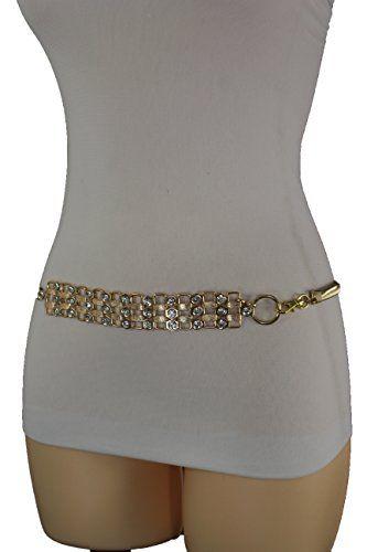 Trendy Fashion Jewelry Women Elastic Waistband Belt Hip Waist Gold Metal Buckle Bling M L XL