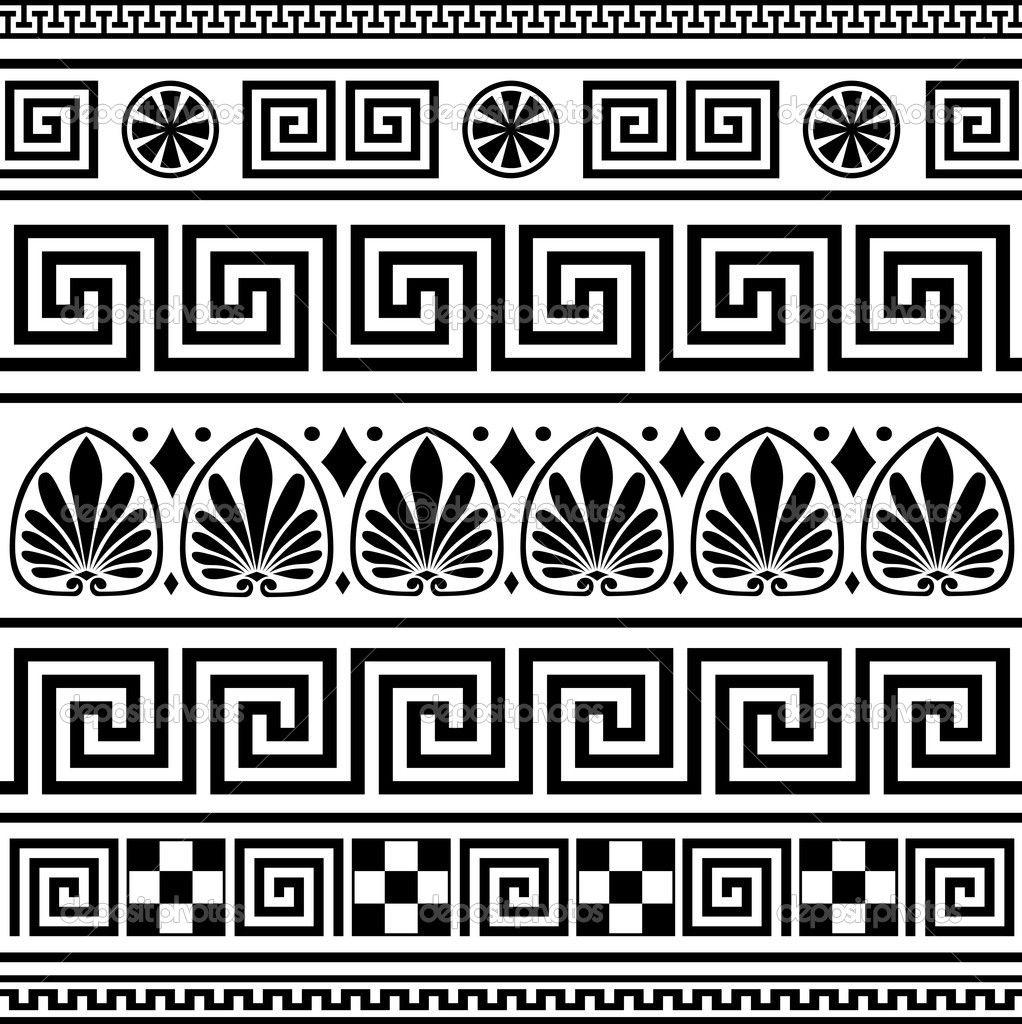 Conjunto de ornamentos griego vector — Ilustración de ...