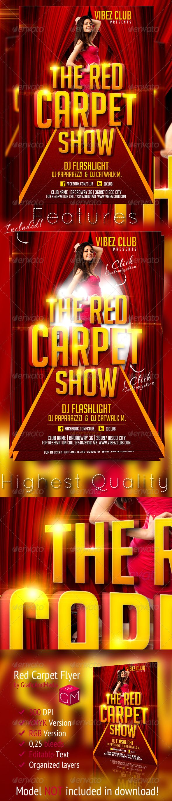 Red Carpet Show Flyer Template  Flyer Template Red Carpet And