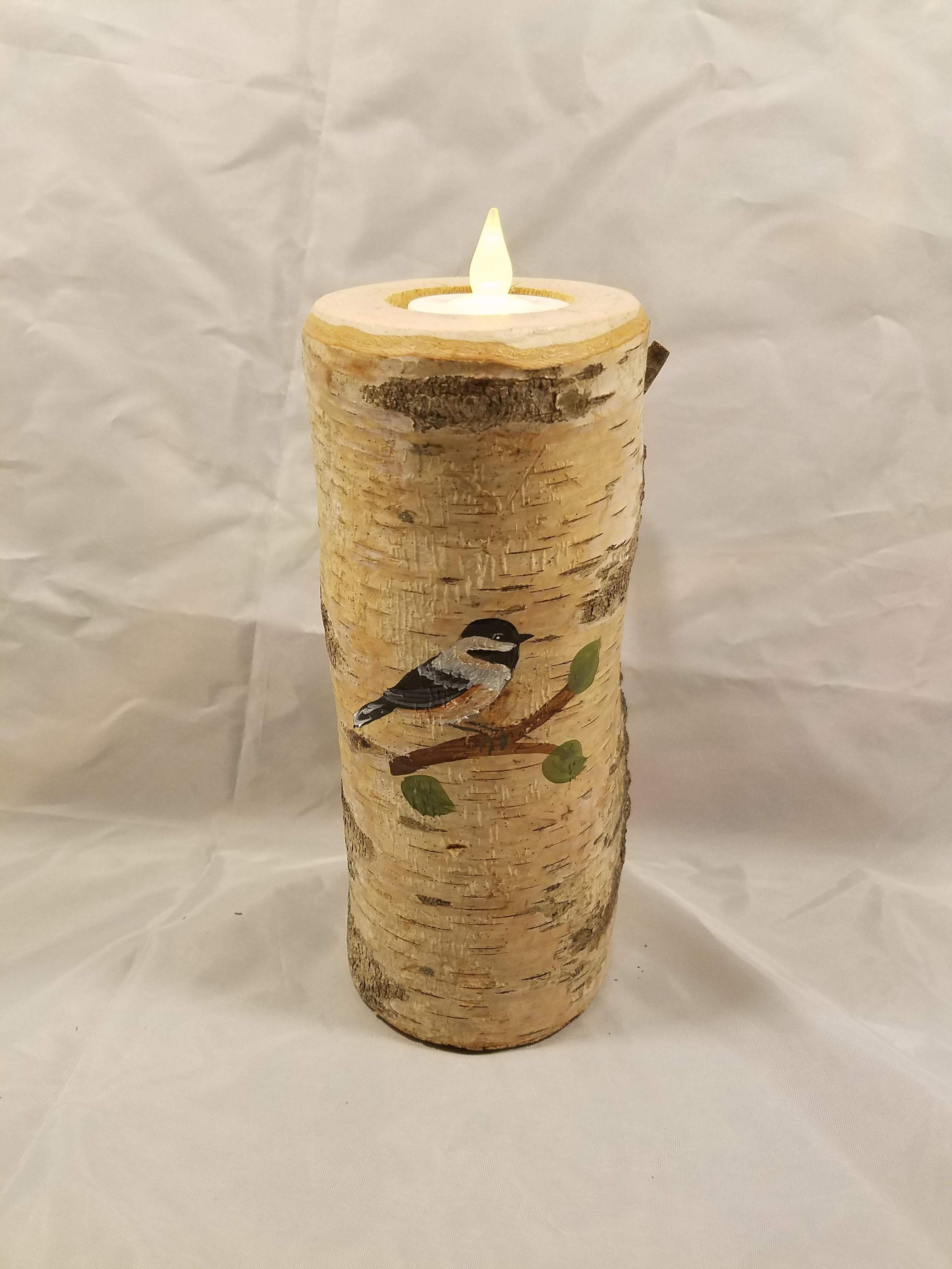 for woodland rustic home decor Chickadee candle holder candle is 6 tall Hand painted on a real birch tree