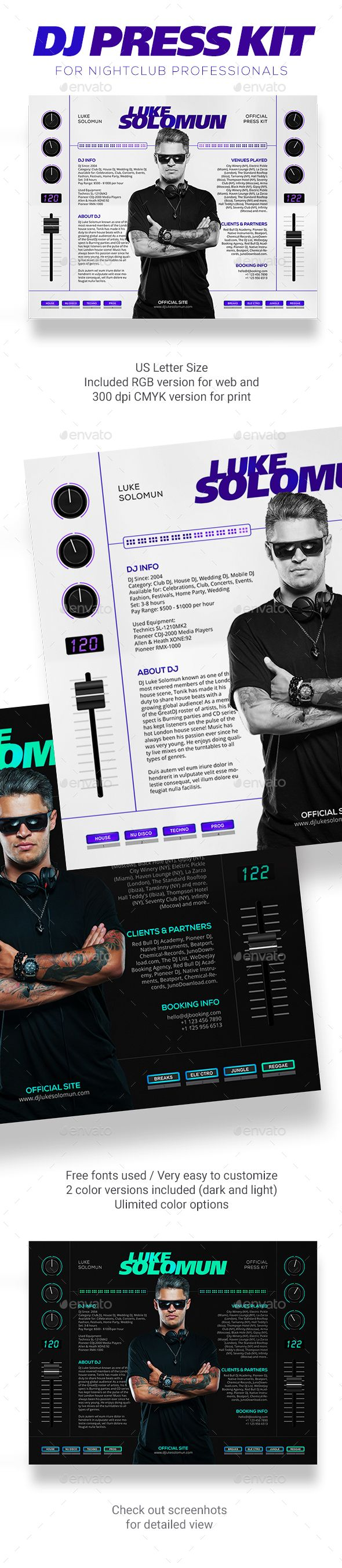 madjestik dj press kit dj resume dj rider psd template press