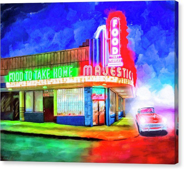 Atlanta Canvas Print featuring Atlanta Nights - The Majestic Diner by Mark Tisdale