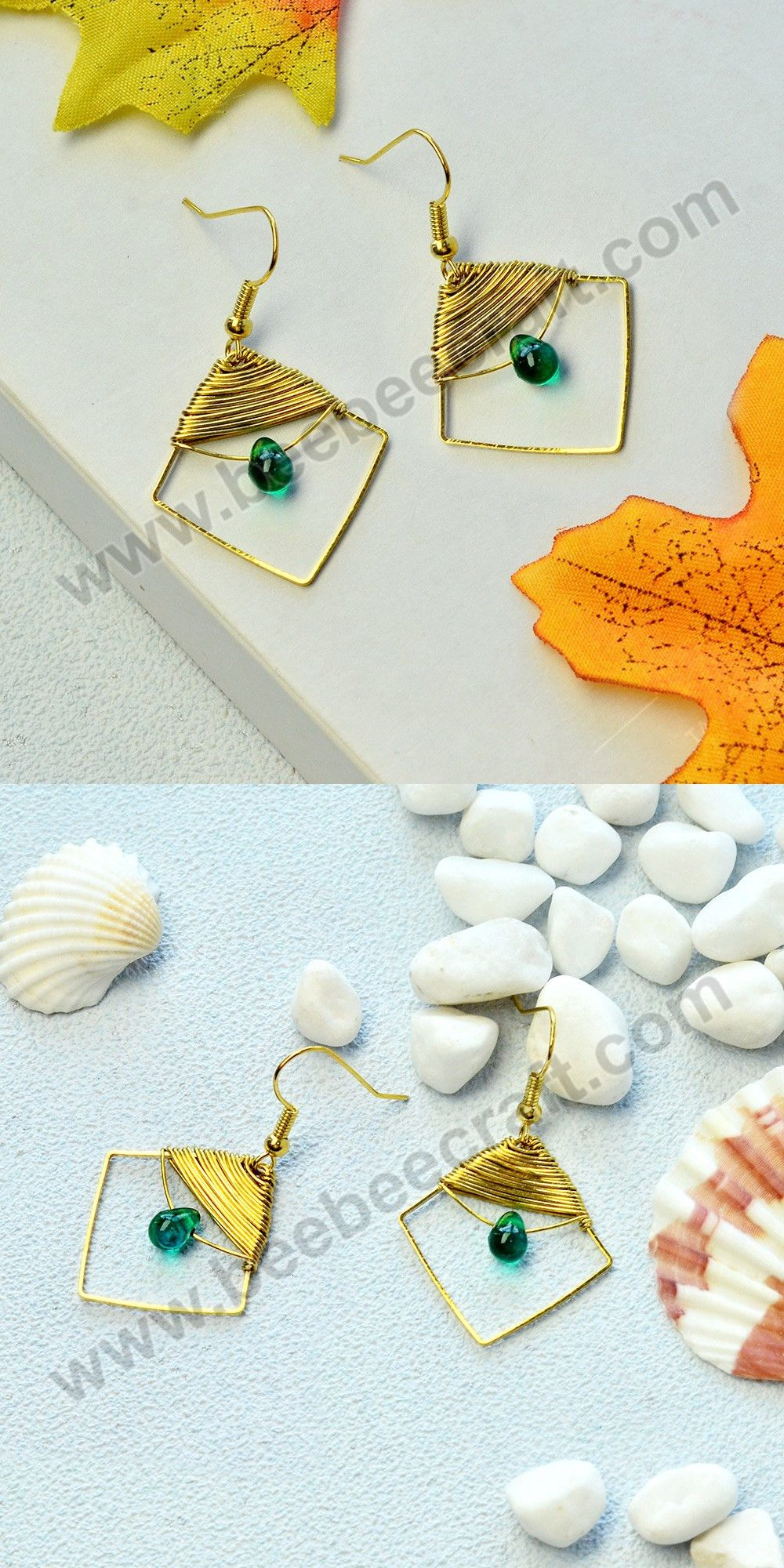 Handmade earrings with beebeecraft beading wire