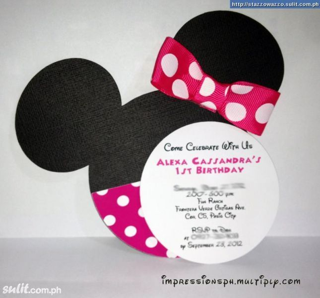 Diy Minnie Mouse Invitations Minnie Mouse Homemade Invitations