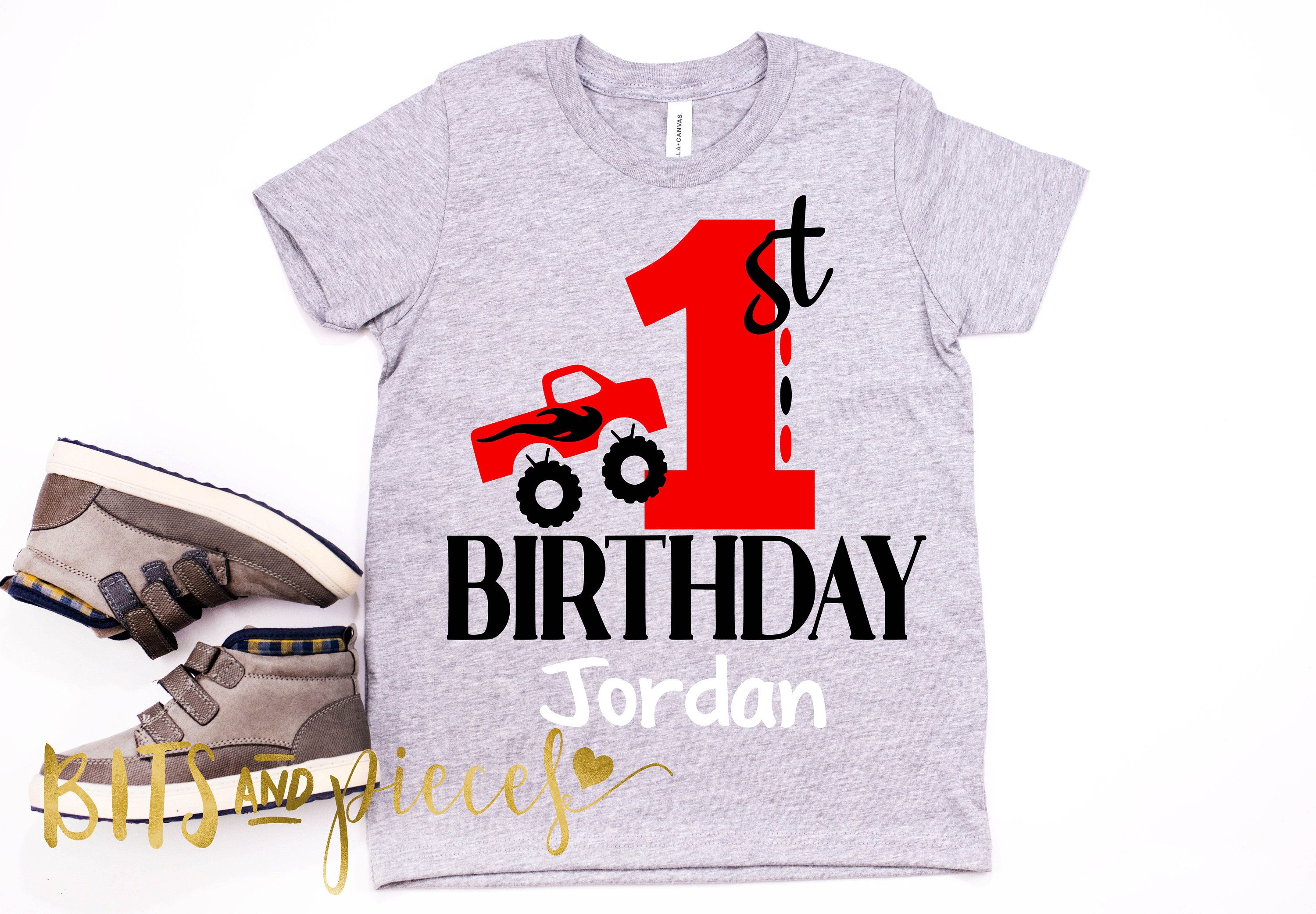 Monster Truck Birthday Shirt Party Trucks First By BitsNPiecesBySK On