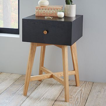 Tall Storage Nightstand Black Westelm Bedroom Night Stands