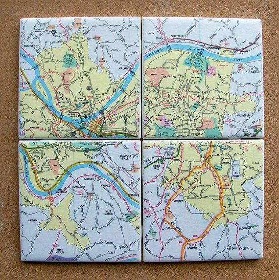 Pittsburgh Pennsylvania Map Coasters $28.00