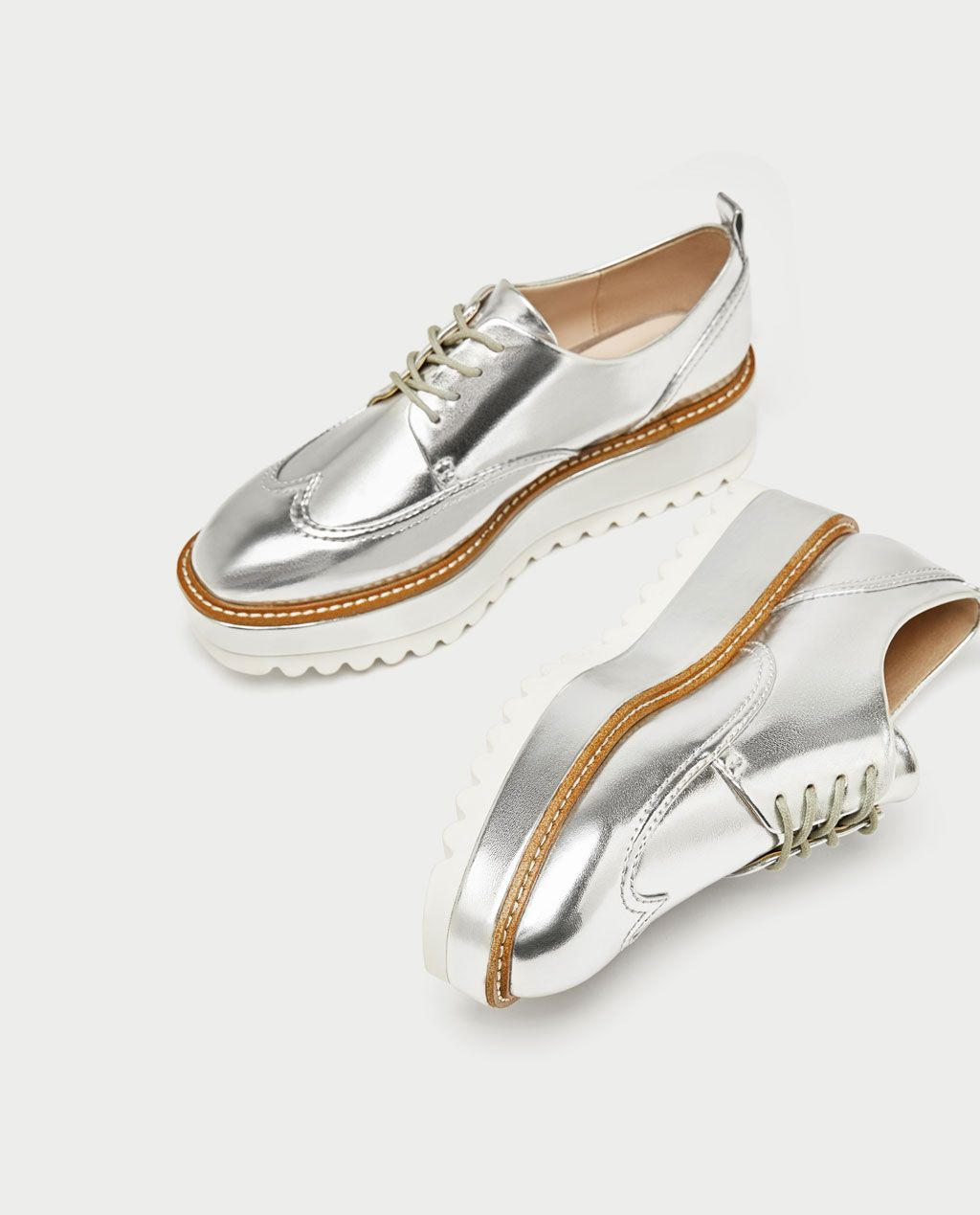 9cdcc3d4d633 ZARA - WOMAN - SILVER TRACK SOLE BROGUES