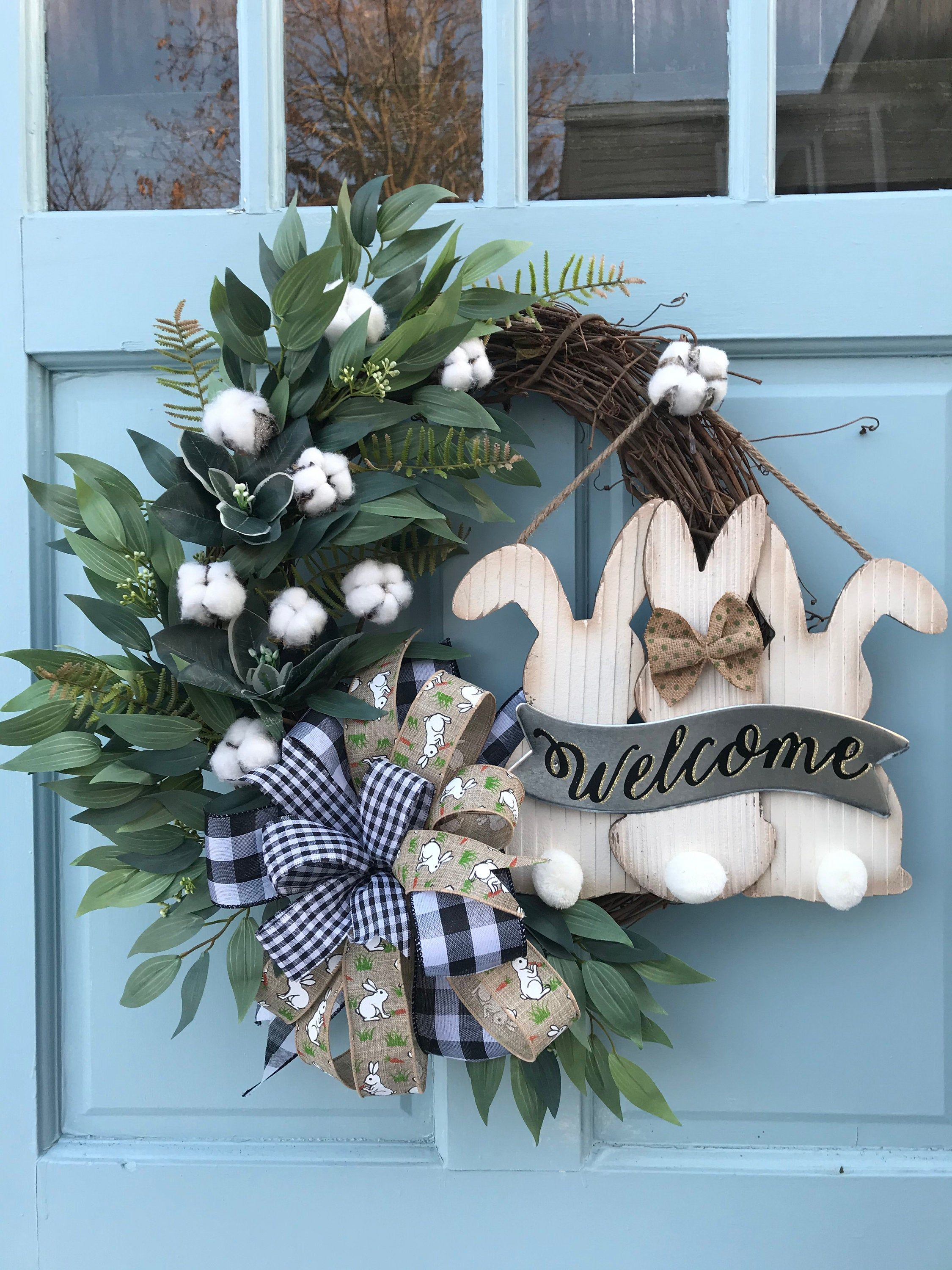 Photo of Beautiful white cotton Summer Grapevine Wreath for Door. Wreaths, wreaths for front door,  farmhouse, christmas