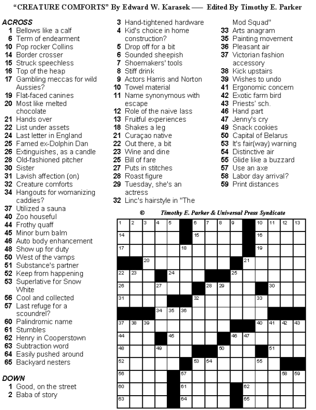 graphic regarding Hard Crossword Puzzles Printable titled Medium Issues Crossword Puzzles in direction of Print and Remedy