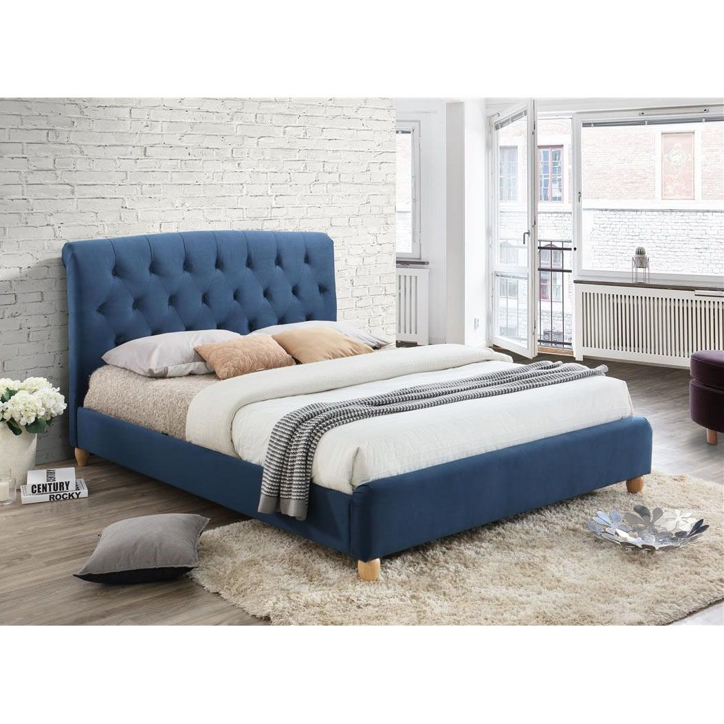 Crystal leather bed frame in white with diamonds next day select - Brompton Midnight Blue Fabric Bed Frame Next Day Select Day Delivery