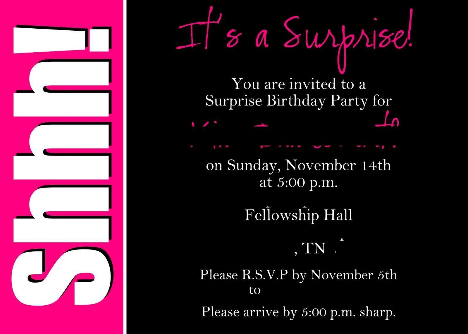 Surprise Invitation Templates